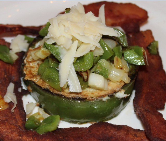 One of our favorite bell pepper uses.  Slice thick, saute, and drop in egg.  Top with cheese and more sauteed peppers
