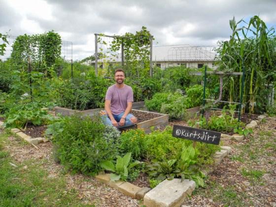 Kurt and his early summer garden plot at Austin's Sunshine Community Garden.