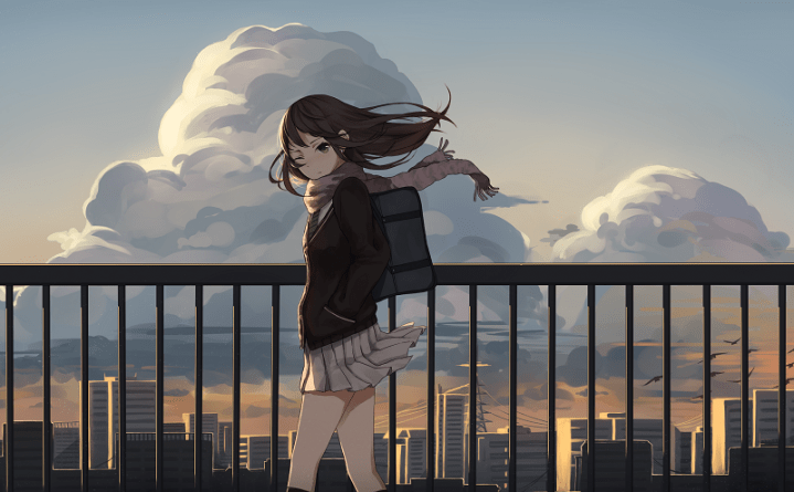 anime-girls-clouds-school-uniform-scarf-wind-bag-birds-flying-buildings-anime-2953x1762