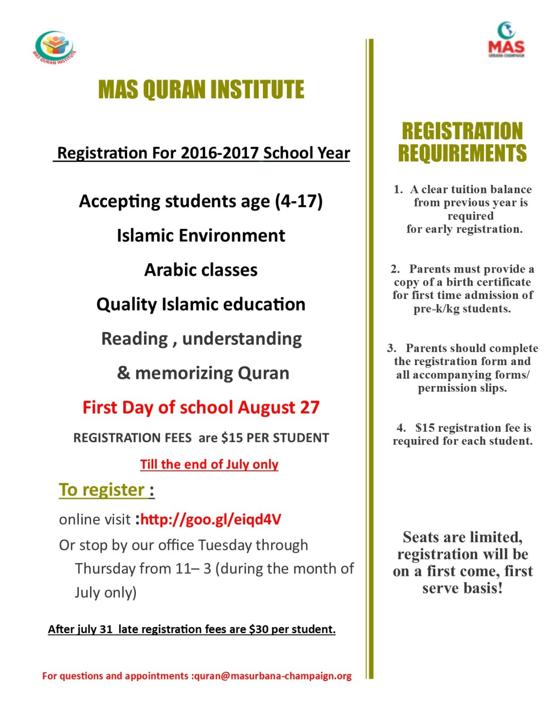 early registration 2015-2016