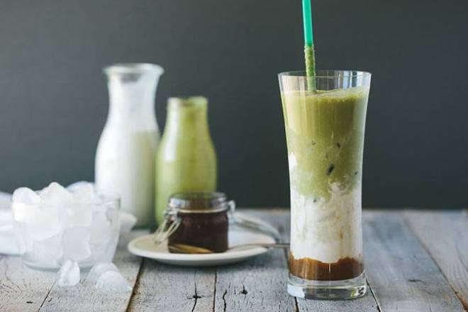 Matcha and Salted Caramel Latte