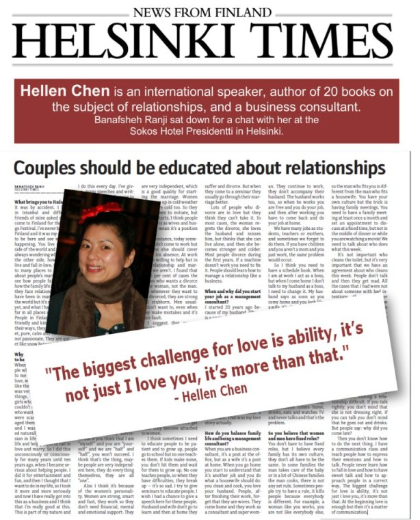 Helsinki Times interviews Hellen Chen on how to have a successful relationship.