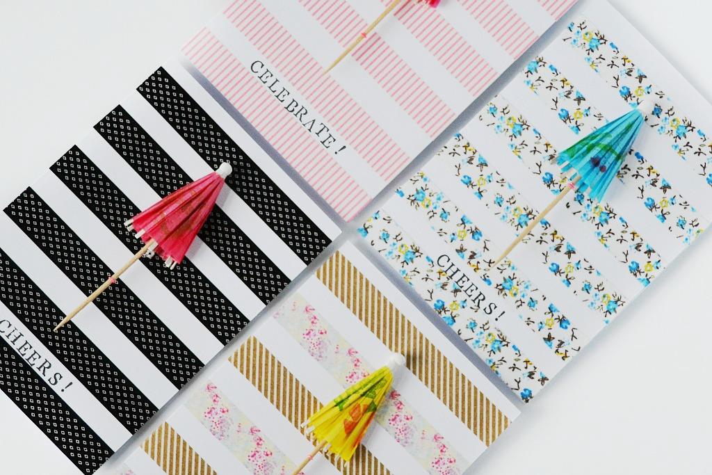 Made Diy Greeting Card Using Cocktail Umbrellas And Washi