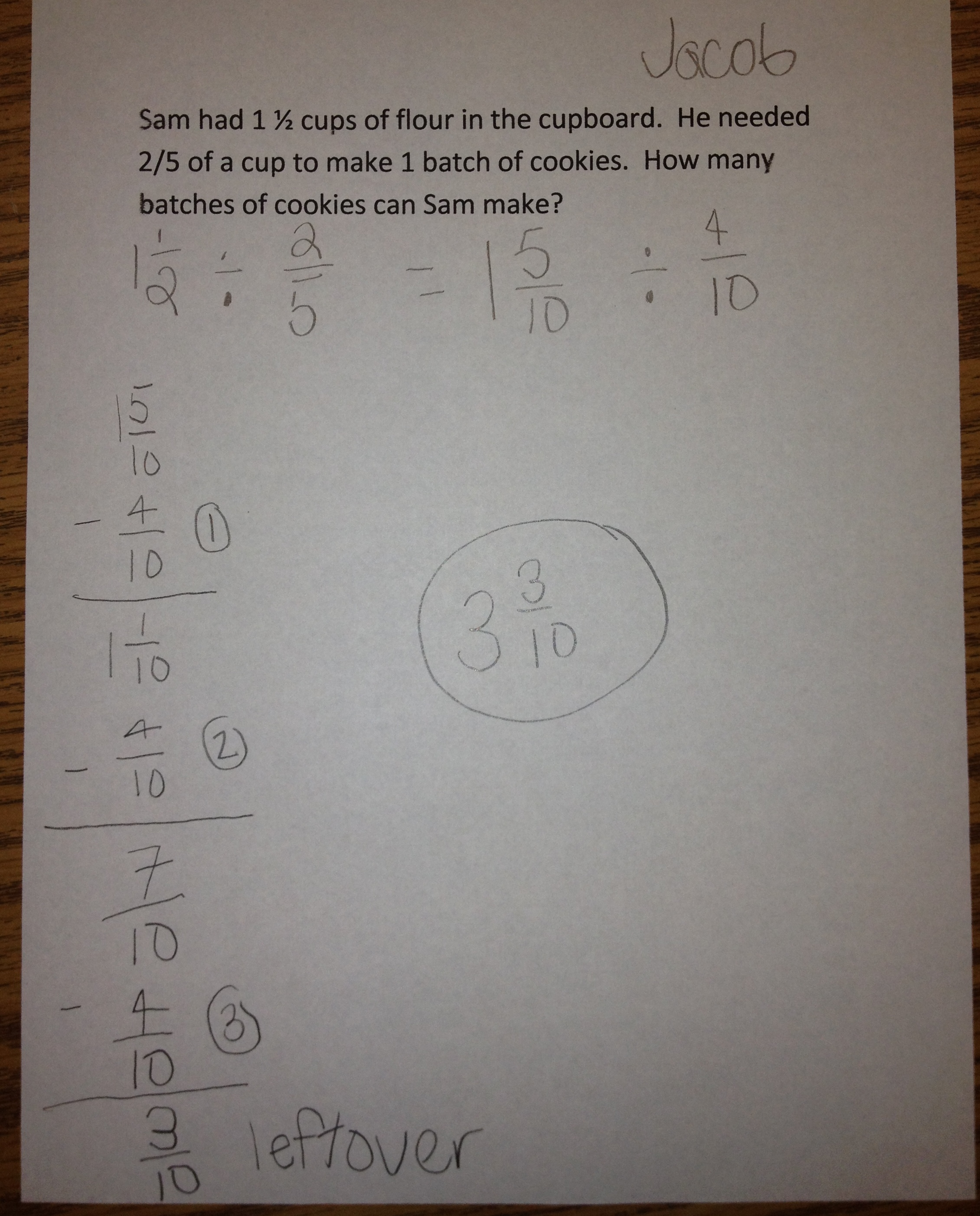 Using Subtraction To Divide Fractions