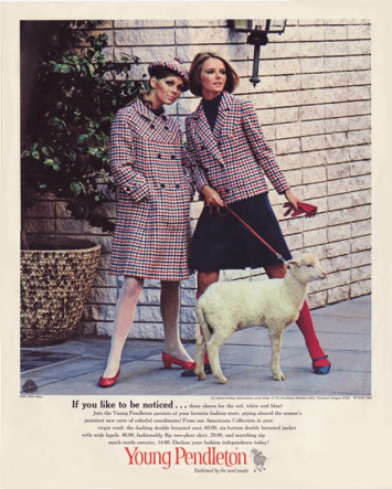1967 Pendleton ad with Cheryl Tiegs on right.