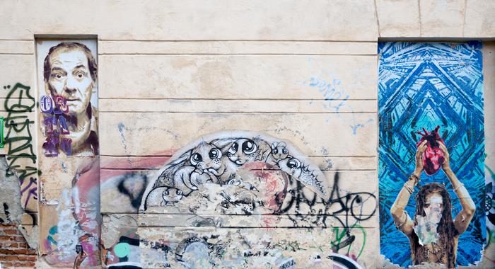 Desene pe un perete de pe strada Arthur Verona din Bucureşti
