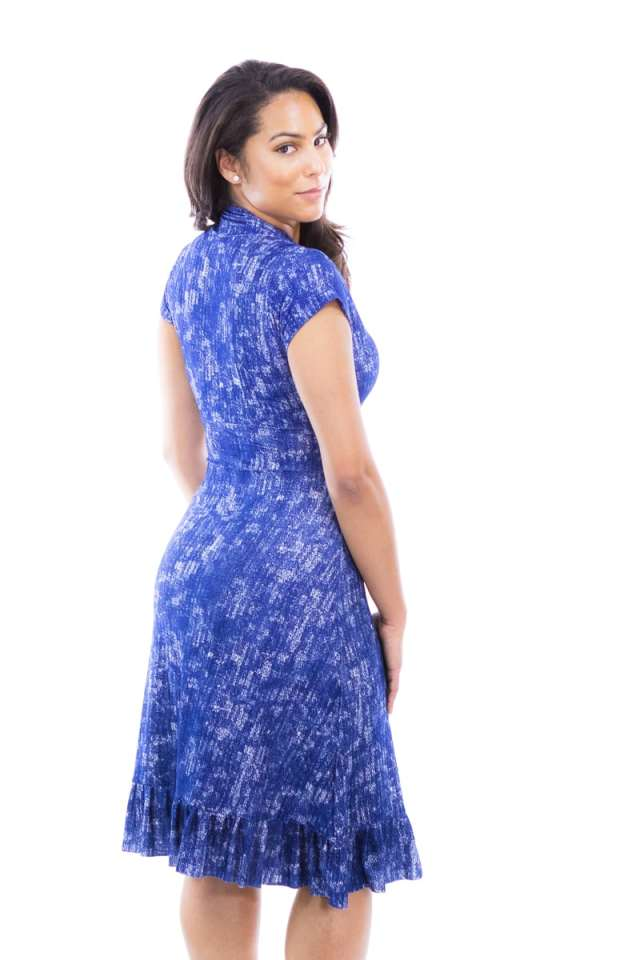 Blue Flecked Vintage Cap Sleeve Dress