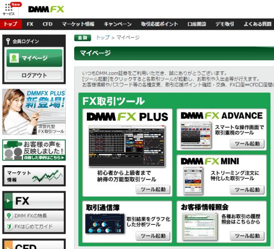DMM FXログイン画面