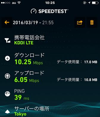 mineoの速度結果(2016年3月19日21時55分)