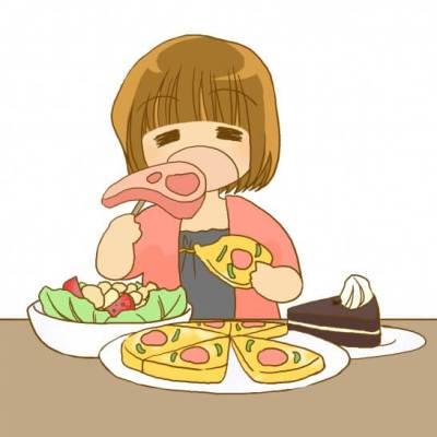 食べ物をたくさん食べる女性のイラスト