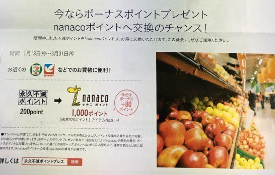 セゾンプラチナ・ビジネス・アメックスの冊子(nanacoへの交換ボーナス)