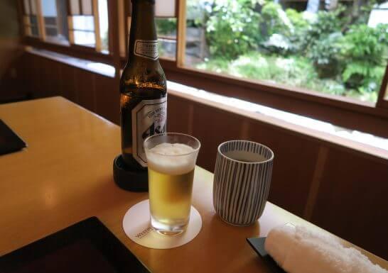 ウェスティンホテル大阪の日本料理「はなの」のグラスビール