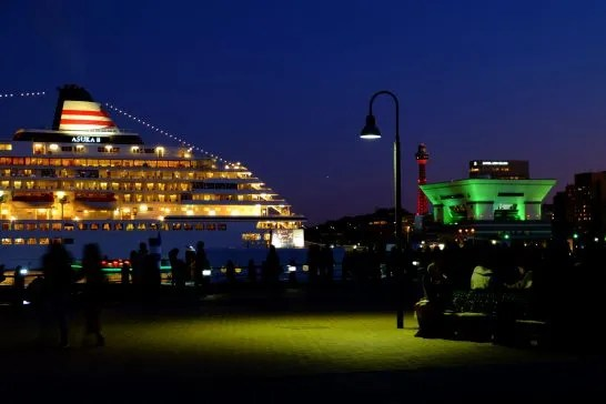 夜の港に停船する飛鳥Ⅱ