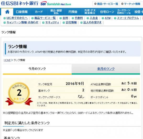 住信SBIネット銀行のスマートプログラムのランク情報(ランク2)