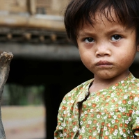 Vietnam little girl with sad look