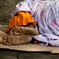 Woman sleeping on the street