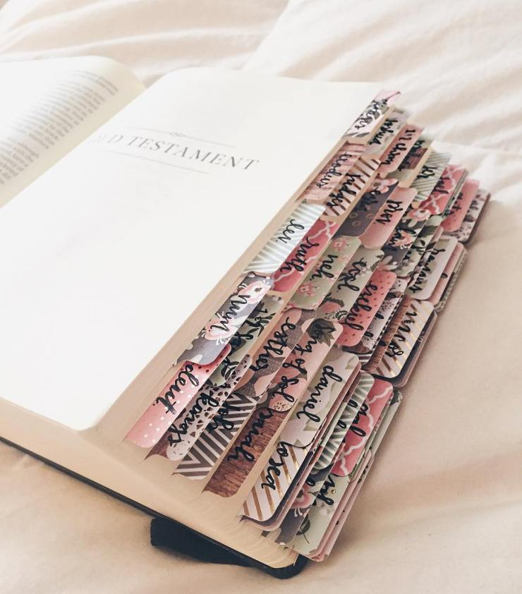 Still not over how beautiful these handwritten bible tabs are