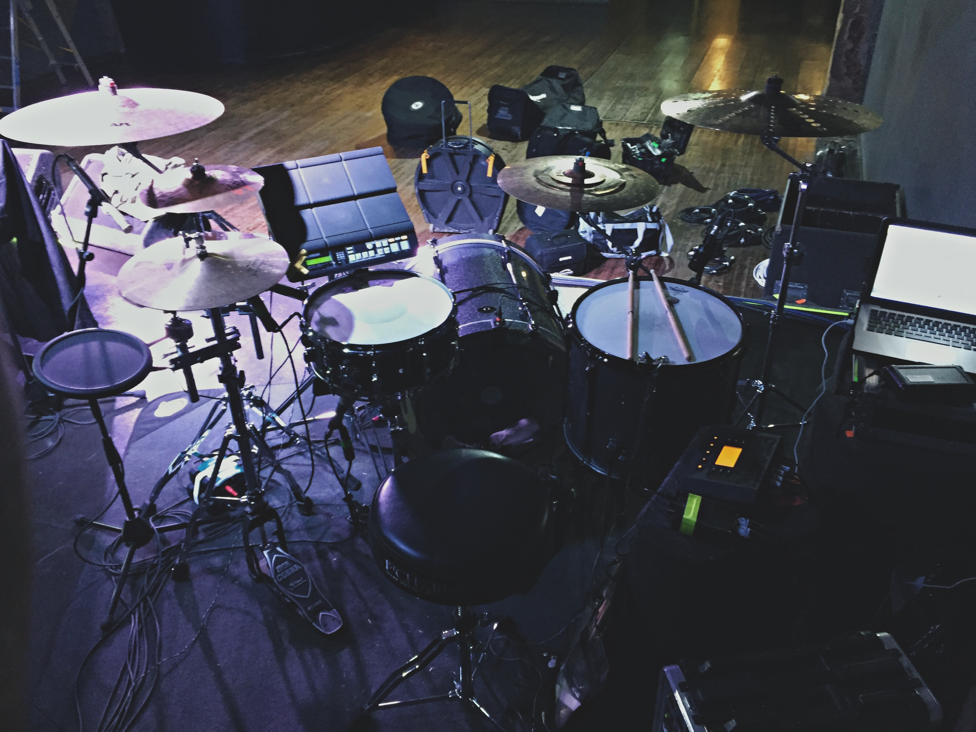 My hybrid drum set up and Cymatic Audio plaice rig for Allie X's headline show at OSLO, Hackney, July 2016