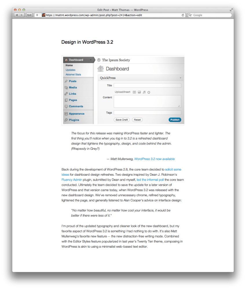 Design in WordPress 3.2 (2/2)