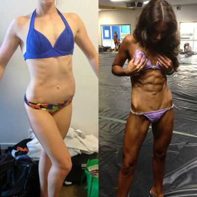 online personal trainer helping female lose fat and enter physique competition