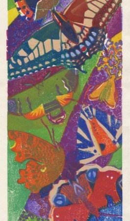 """Busy Buddleia"" woodblock print by Matt Underwood"
