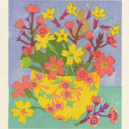 """March Flowers and Blossom"" woodblock print by Matt Underwood"