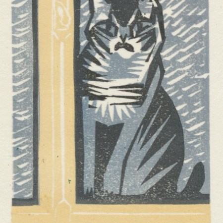 """Let me in!"" woodblock print by Matt Underwood"