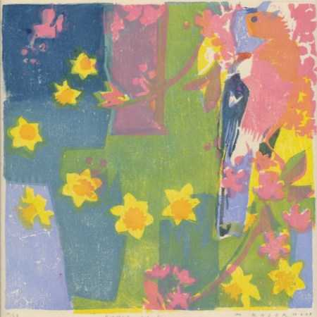 """Spring garden"" woodblock print by Matt Underwood"