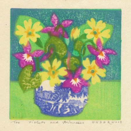 """Violets and Primroses"" woodblock print by Matt Underwood"
