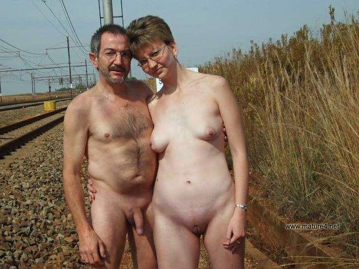 Mature senior nudist couples