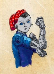 Illustration of a robotic Rosie the Riveter