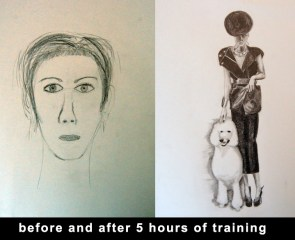From a flat child-like representation to the drawing on the right in 5 hours.