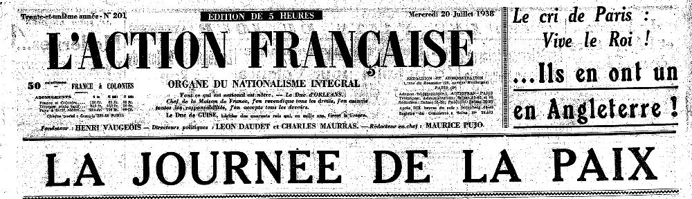 Une de l'AF du 20 juillet 1938 (détail)