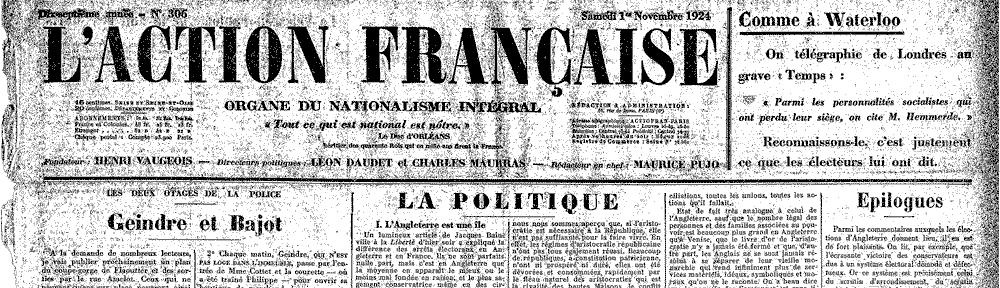 Une de l'AF du 1er novembre 1924 (détail)