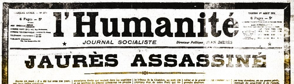Une de l'Humanité pour la mort de Jean Jaurès
