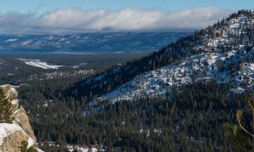 A look at Lake Tahoe, Calif. from Hwy 50 on the morning of the first snow survey for the 2015/2016 season.