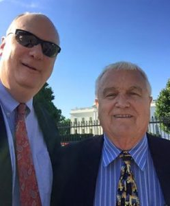 Ancilla College Vice President of Enrollment Eric Wignall and President Dr. Ken Zirkle outside the White House Fiday