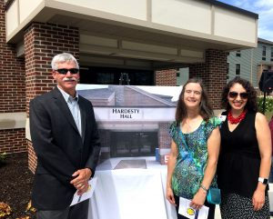 Jim Hardesty's nephew Chuck Hardesty, niece Joan Hardesty, and SCCF Director of Development Sarah Origer, following the official naming of Hardesty Hall