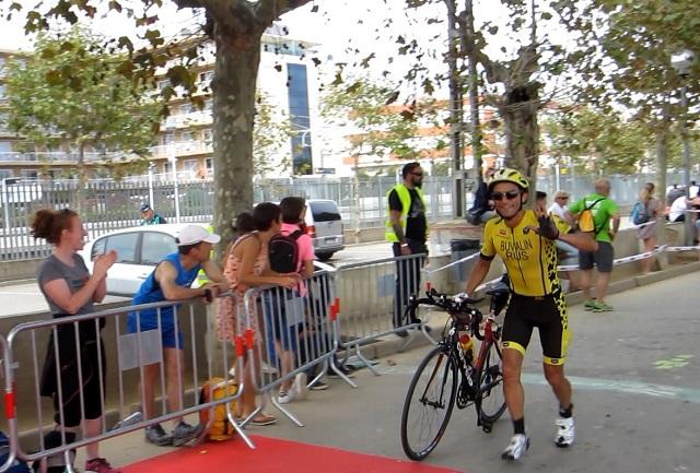 The finish of the bike Ironman Barcelona 2016. Maxim Buvalin