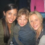 "Maxim Knight with Seychelle Gabriel and Jessy Schram on the ""Falling Skies"" set"