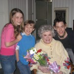 """Max with Phyllis Diller and """"Family Dinner"""" co-stars"""