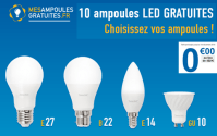 MesAmpoulesGratuites : 1 packs de 10 ampoules LED offert
