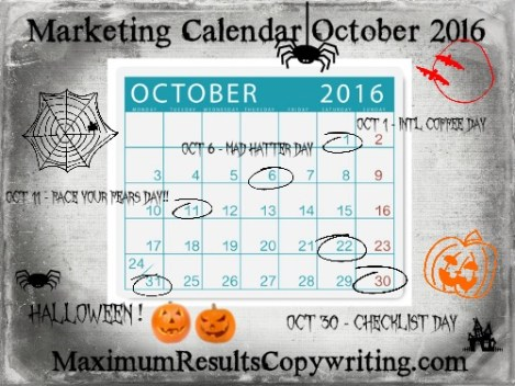 Marketing Calendar October 2016