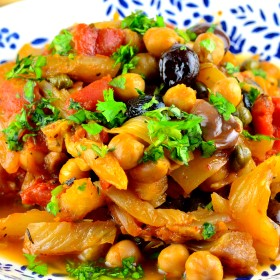 Fennel and chickpeas provençal - chickpeas, fennel, olives, capers, kosher, vegan , vegetarian, gliuten free