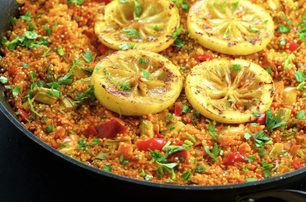 Vegetarian Quinoa Paella - Quick and easy to make , full of flavor and plant based protein.. Great passover recipe too!