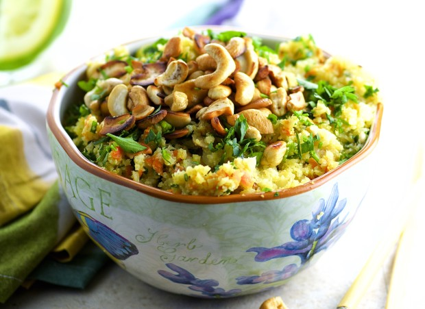 Cauliflower Fried Rice - Vegan, gluten Free, low carb , full of flavor and a great passover recipe too!