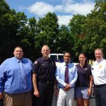 Left to right: Maynard Town Administrator Kevin Sweet, Police Chief Mark Dubois, Donny Wright (Mcdonalds owner) Wendy Allegrone-Leslie (boys club director) and Fire Chief Anthony Stowers. (Maynard Police Courtesy Photo)