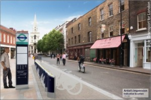 Artist's impression of the scheme's docking stations