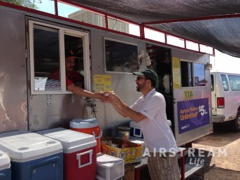 Ruiz Rich receiving sonoran dog