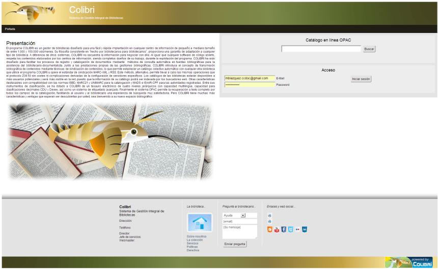 Portada de entrada del sistema de gestión de bibliotecas